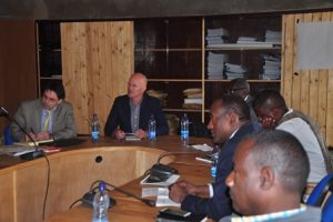 Representatives from EWCA, IGAD, WCS, and HoA-REC&N meet at HoA-REC&N's headquarters in Gullele Botanic Garden
