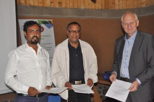Professor Negusssie Reta (2rd from left) and Mr. Hollhuber on behalf (3rd), AWF, after siging Aide Memoire