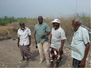 Figure 3: Community leaders in Gulf of Tadoura, Djibouti with Prof. George Owiti from the academia (University of Nairobi) (second from Left)